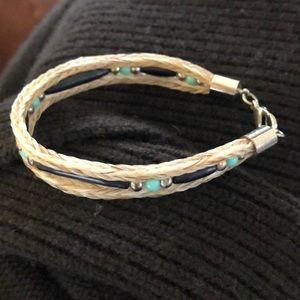 Jewelry - Braided bracelet with black, silver, & blue beads